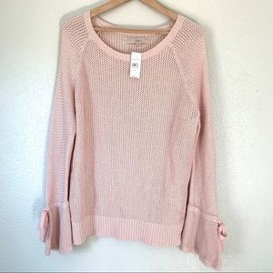 NEW Loft pink knit bell sleeve pullover sweater
